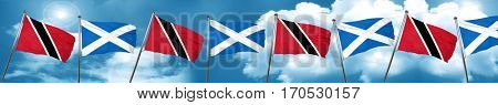 Trinidad and tobago flag with Scotland flag, 3D rendering