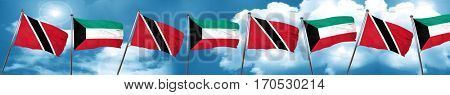 Trinidad and tobago flag with Kuwait flag, 3D rendering