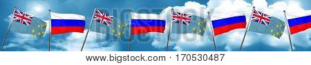 Tuvalu flag with Russia flag, 3D rendering