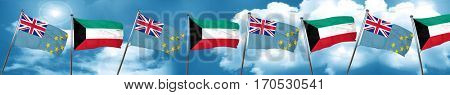 Tuvalu flag with Kuwait flag, 3D rendering