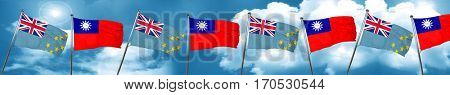 Tuvalu flag with Taiwan flag, 3D rendering
