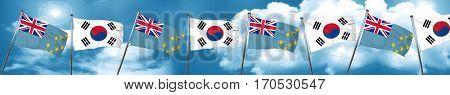 Tuvalu flag with South Korea flag, 3D rendering