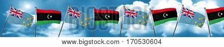 Tuvalu flag with Libya flag, 3D rendering