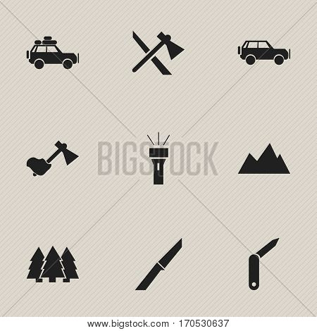 Set Of 9 Editable Trip Icons. Includes Symbols Such As Clasp-Knife, Tomahawk, Knife And More. Can Be Used For Web, Mobile, UI And Infographic Design.
