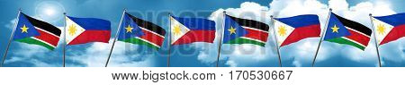 south sudan flag with Philippines flag, 3D rendering