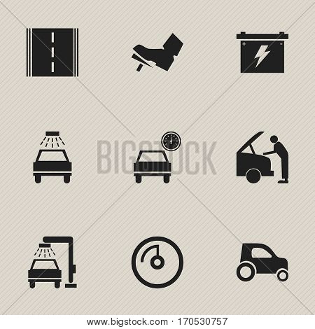 Set Of 9 Editable Vehicle Icons. Includes Symbols Such As Highway, Vehicle Car, Vehicle Wash And More. Can Be Used For Web, Mobile, UI And Infographic Design.