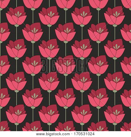 Midnight red flowers. Seamless background for your design