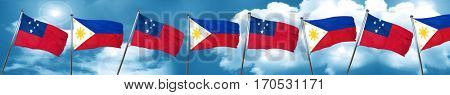 Samoa flag with Philippines flag, 3D rendering