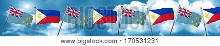 Tuvalu flag with Philippines flag, 3D rendering