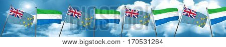 Tuvalu flag with Sierra Leone flag, 3D rendering