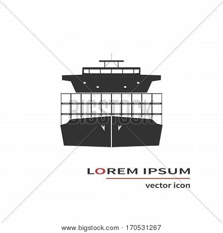 Container ship isolated on background. Vector illustration