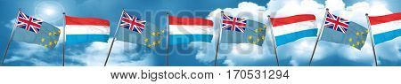 Tuvalu flag with Luxembourg flag, 3D rendering