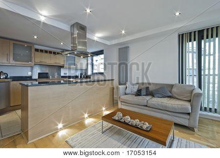 modern open plan kitchen with breakfast bar