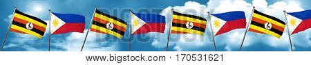 Uganda flag with Philippines flag, 3D rendering