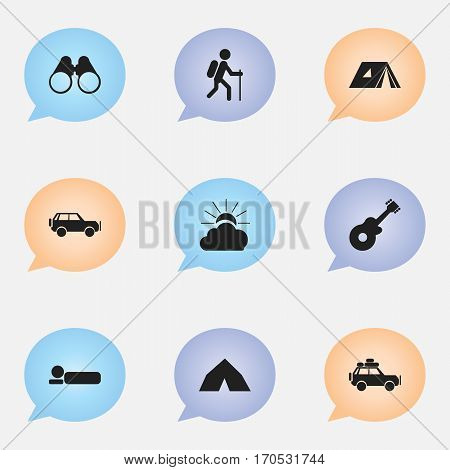 Set Of 9 Editable Travel Icons. Includes Symbols Such As Gait, Musical Instrument, Voyage Car And More. Can Be Used For Web, Mobile, UI And Infographic Design.