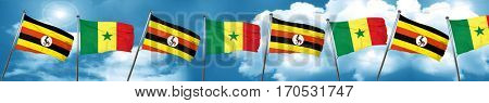 Uganda flag with Senegal flag, 3D rendering
