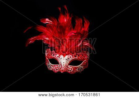 Carnival Halloween Mask Isolated On Black Background.