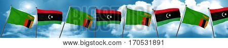 Zambia flag with Libya flag, 3D rendering