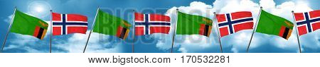 Zambia flag with Norway flag, 3D rendering