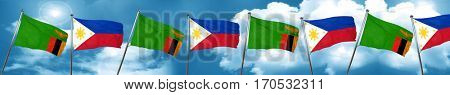 Zambia flag with Philippines flag, 3D rendering
