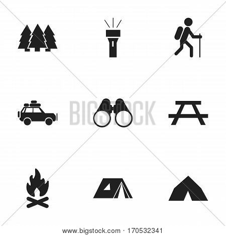 Set Of 9 Editable Trip Icons. Includes Symbols Such As Desk, Lantern, Field Glasses And More. Can Be Used For Web, Mobile, UI And Infographic Design.
