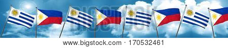 Uruguay flag with Philippines flag, 3D rendering