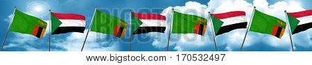 Zambia flag with Sudan flag, 3D rendering