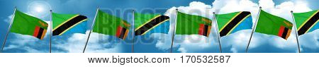 Zambia flag with Tanzania flag, 3D rendering