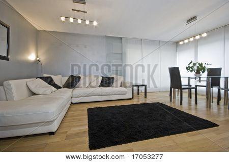 modern living room with metallic paint and luxury corner sofa