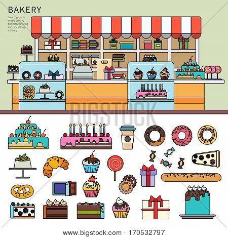 Thin line flat design of the bakery with pastry. Bakery with different cakes and candies on the counter, goodies, cakes, doughnuts and pies isolated on white background