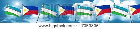 Uzbekistan flag with Philippines flag, 3D rendering