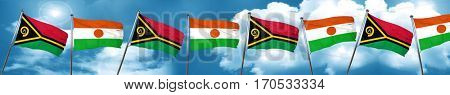Vanatu flag with Niger flag, 3D rendering