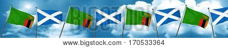 Zambia flag with Scotland flag, 3D rendering