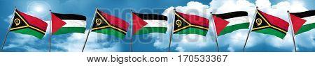 Vanatu flag with Palestine flag, 3D rendering