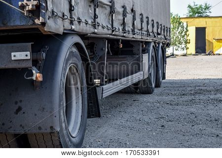 The Wheels Of The Truck Near. A Large Truck