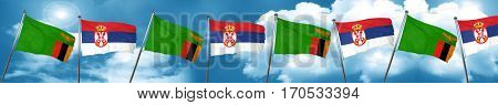 Zambia flag with Serbia flag, 3D rendering