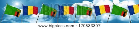 Zambia flag with Romania flag, 3D rendering