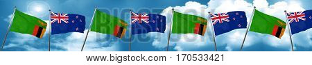 Zambia flag with New Zealand flag, 3D rendering