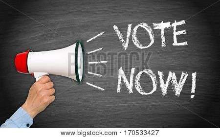 Vote Now - megaphone with text on chalkboard background