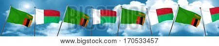 Zambia flag with Madagascar flag, 3D rendering