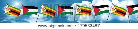Zimbabwe flag with Palestine flag, 3D rendering