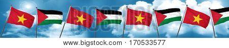 Vietnam flag with Palestine flag, 3D rendering