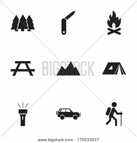 Set Of 9 Editable Camping Icons. Includes Symbols Such As Shelter, Sport Vehicle, Desk And More. Can Be Used For Web, Mobile, UI And Infographic Design.