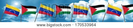 Venezuela flag with Palestine flag, 3D rendering