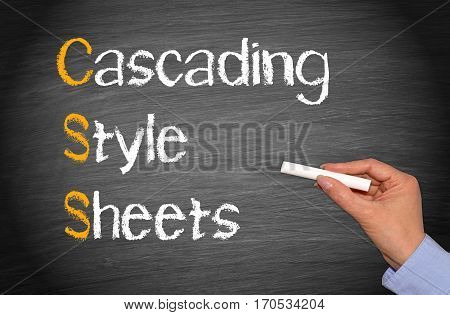 CSS - Cascading Style Sheets - hand writing text on blackboard