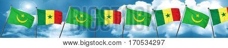 Mauritania flag with Senegal flag, 3D rendering