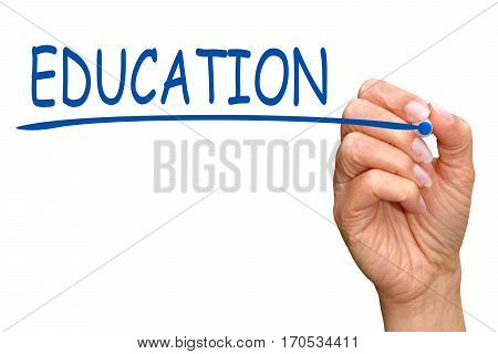 Education - female hand with blue marker writing text on white background