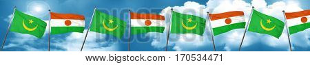 Mauritania flag with Niger flag, 3D rendering