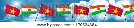 Vietnam flag with Niger flag, 3D rendering