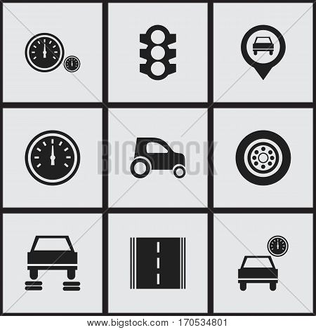 Set Of 9 Editable Transport Icons. Includes Symbols Such As Stoplight, Pointer, Tire And More. Can Be Used For Web, Mobile, UI And Infographic Design.